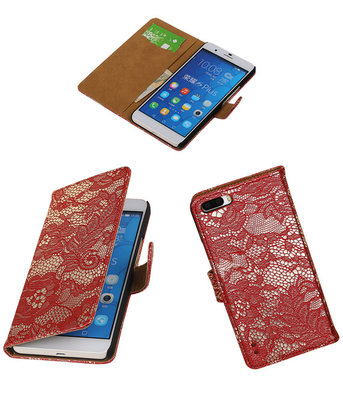 Huawei Honor 6 Plus Lace Kant Booktype Wallet Hoesje Rood
