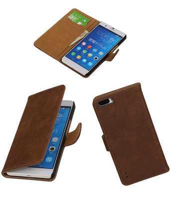 Huawei Honor 6 Plus Bark Hout Booktype Wallet Hoesje Bruin