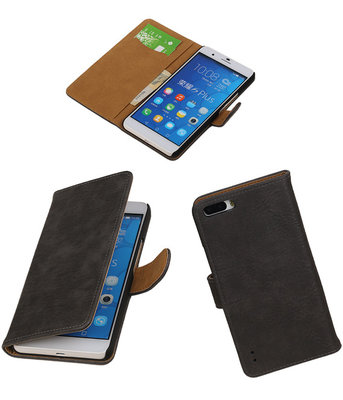 Huawei Honor 6 Plus Bark Hout Booktype Wallet Hoesje Grijs