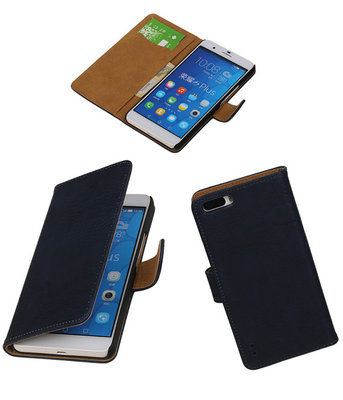 Huawei Honor 6 Plus Bark Hout Booktype Wallet Hoesje Donker Blauw