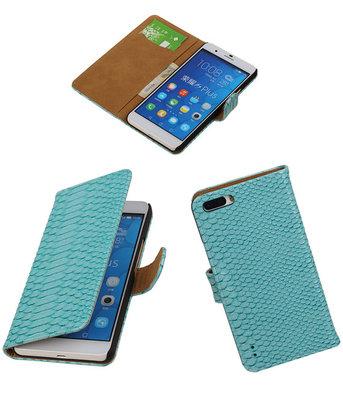 Hoesje voor Huawei Honor 6 Plus Snake Slang Booktype Wallet Turquoise