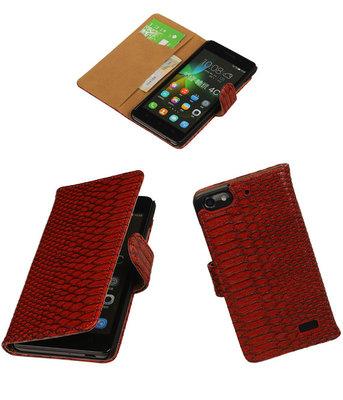 Hoesje voor Huawei Honor 4C Snake Slang Booktype Wallet Rood