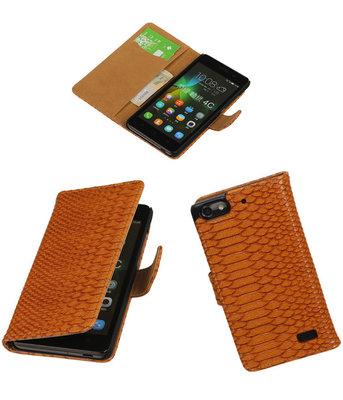 Hoesje voor Huawei Honor 4C Snake Slang Booktype Wallet Bruin