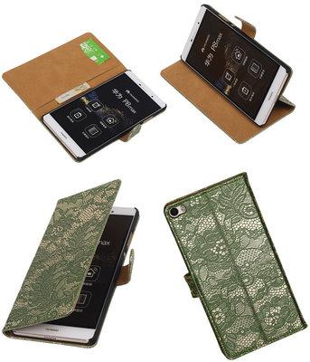 Hoesje voor Huawei P8 Max Lace Kant Booktype Wallet Donker Groen