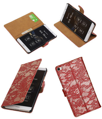 Hoesje voor Huawei P8 Max Lace Kant Booktype Wallet Rood