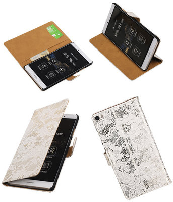 Hoesje voor Huawei P8 Max Lace Kant Booktype Wallet Wit
