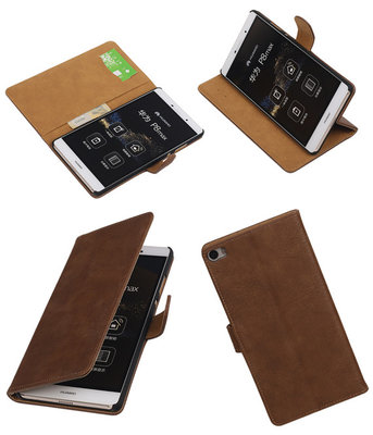 Hoesje voor Huawei P8 Max Bark Hout Booktype Wallet Bruin