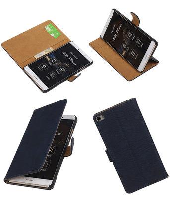 Hoesje voor Huawei P8 Max Bark Hout Booktype Wallet Donker Blauw