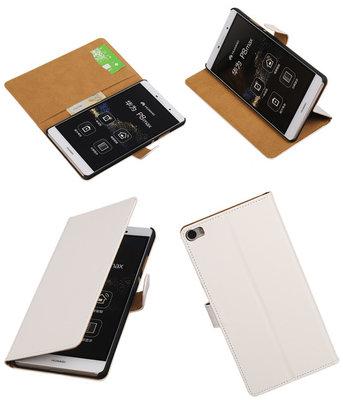Hoesje voor Huawei P8 Max Effen Booktype Wallet Wit
