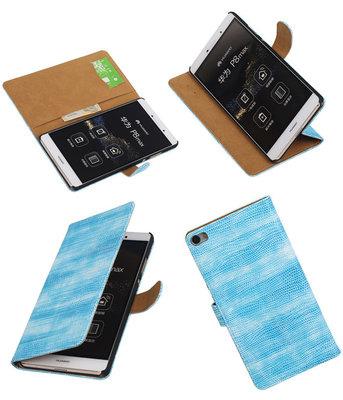 Hoesje voor Huawei P8 Max Booktype Wallet Mini Slang Blauw