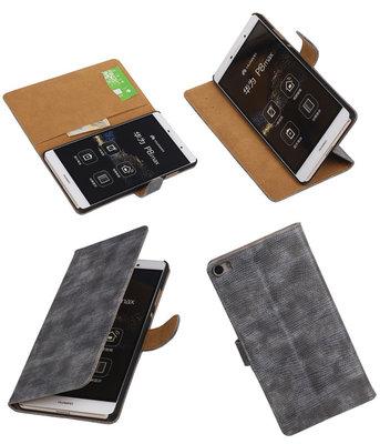 Hoesje voor Huawei P8 Max Booktype Wallet Mini Slang Grijs