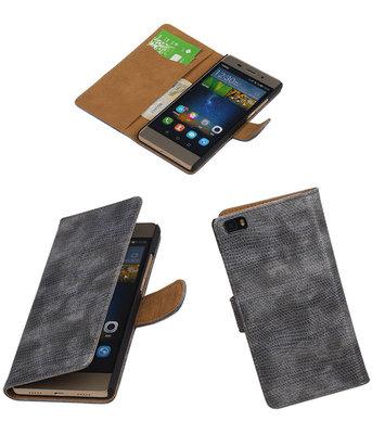 Huawei P8 Lite Booktype Wallet Hoesje Mini Slang Grijs