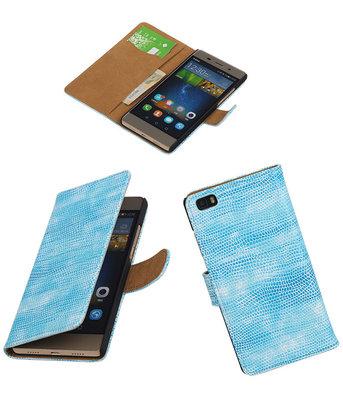 Huawei P8 Lite Booktype Wallet Hoesje Mini Slang Blauw