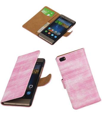 Hoesje voor Huawei P8 Lite Booktype Wallet Mini Slang Roze