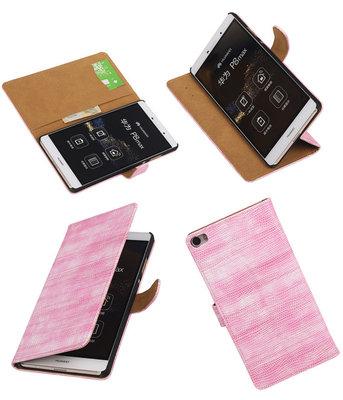Hoesje voor Huawei P8 Max Booktype Wallet Mini Slang Roze