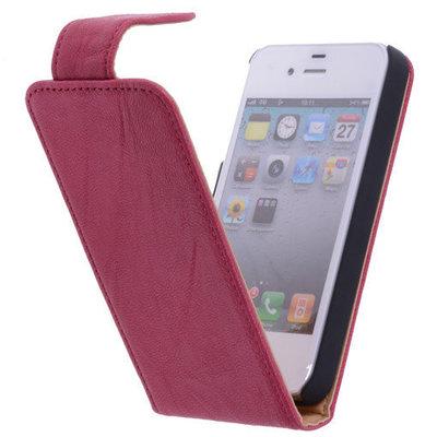 Polar Echt lederen Hoesje voor Apple iPhone 4/4s Flipcase Fuchsia