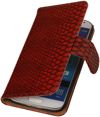 Samsung Galaxy S3 Snake Slang Bookstyle Wallet Hoesje Rood