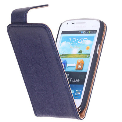 Polar Echt Lederen Hoesje voor Samsung Galaxy Express i8730 Flipcase Navy Blue