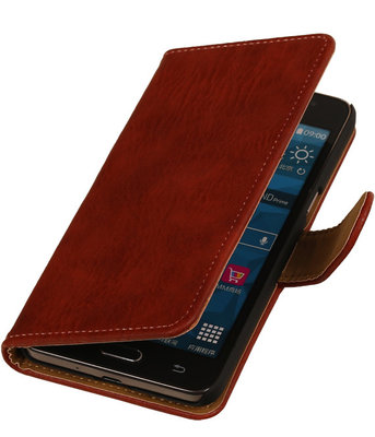 Rood Hout Hoesje voor Huawei Ascend Mate 7 Book/Wallet Case/Cover