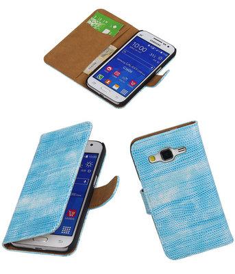 Hoesje voor Samsung Galaxy Core Prime Booktype Wallet Mini Slang Blauw