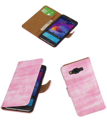 Hoesje voor Samsung Galaxy Grand Max Booktype Wallet Mini Slang Roze