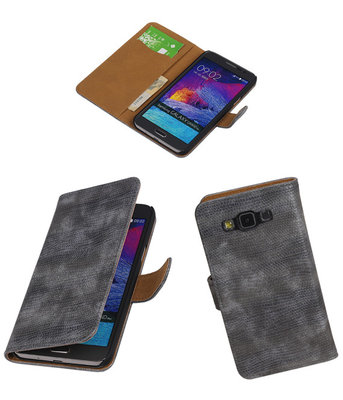 Hoesje voor Samsung Galaxy Grand Max Booktype Wallet Mini Slang Grijs