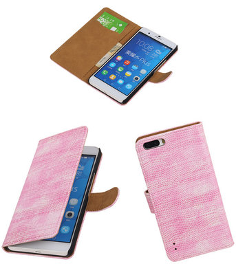 Huawei Honor 6 Plus Booktype Wallet Hoesje Mini Slang Roze