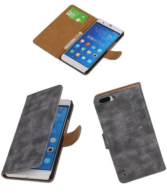 Huawei Honor 6 Plus Booktype Wallet Hoesje Mini Slang Grijs