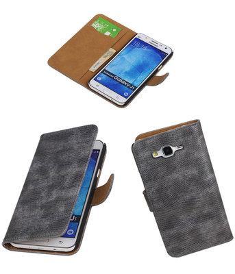 Hoesje voor Samsung Galaxy J5 2015 Booktype Wallet Mini Slang Grijs
