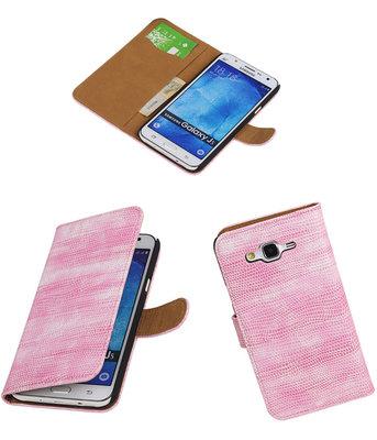 Hoesje voor Samsung Galaxy J5 2015 Booktype Wallet Mini Slang Roze