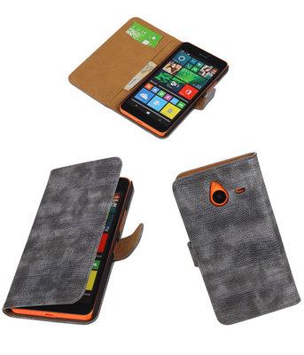 Hoesje voor Microsoft Lumia 640 XL Booktype Wallet Mini Slang Grijs
