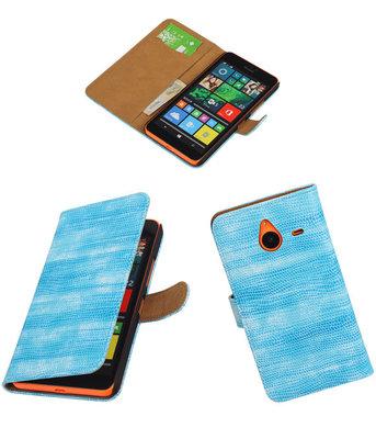 Hoesje voor Microsoft Lumia 640 XL Booktype Wallet Mini Slang Blauw