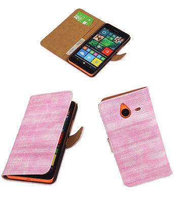 Hoesje voor Microsoft Lumia 640 XL Booktype Wallet Mini Slang Roze