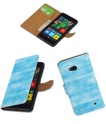 Hoesje voor Microsoft Lumia 640 Booktype Wallet Mini Slang Blauw