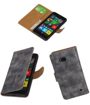 Hoesje voor Microsoft Lumia 640 Booktype Wallet Mini Slang Grijs