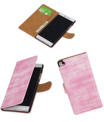 Hoesje voor Huawei P8 Booktype Wallet Mini Slang Roze