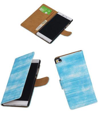 Hoesje voor Huawei P8 Booktype Wallet Mini Slang Blauw