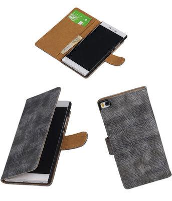 Huawei P8 Booktype Wallet Hoesje Mini Slang Grijs