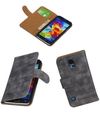 Hoesje voor Samsung Galaxy S5 Booktype Wallet Mini Slang Grijs