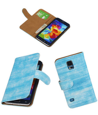 Hoesje voor Samsung Galaxy S5 Booktype Wallet Mini Slang Blauw