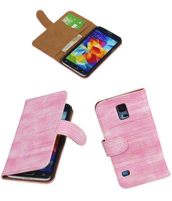 Hoesje voor Samsung Galaxy S5 Booktype Wallet Mini Slang Roze