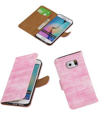 Hoesje voor Samsung Galaxy S6 Edge Booktype Wallet Mini Slang Roze