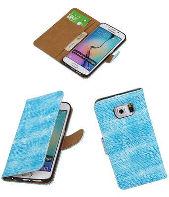 Hoesje voor Samsung Galaxy S6 Edge Booktype Wallet Mini Slang Blauw