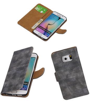 Hoesje voor Samsung Galaxy S6 Edge Booktype Wallet Mini Slang Grijs