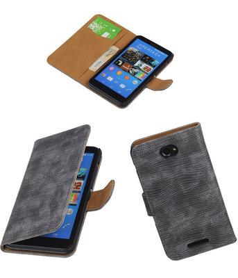Hoesje voor Sony Xperia E4 Booktype Wallet Mini Slang Grijs
