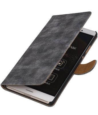 Hoesje voor Sony Xperia M4 Aqua Booktype Wallet Mini Slang Grijs