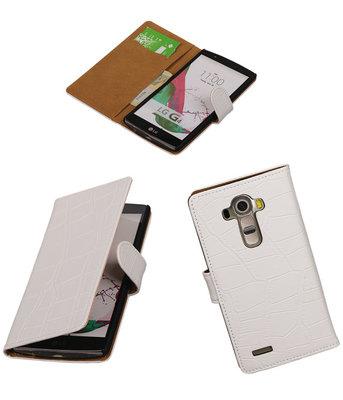 Hoesje voor LG G4 Croco Booktype Wallet Wit