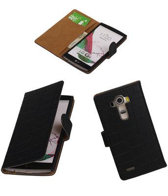 Hoesje voor LG G4 Croco Booktype Wallet Zwart