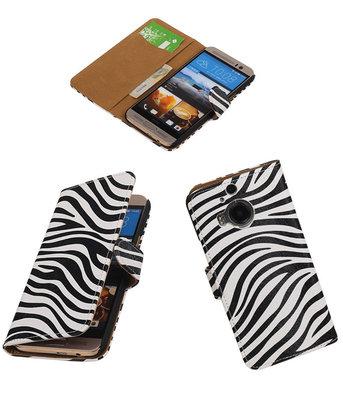 Hoesje voor HTC One M9 Plus Zebra Booktype Wallet