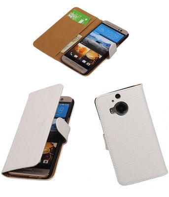 Hoesje voor HTC One M9 Plus Croco Booktype Wallet Wit
